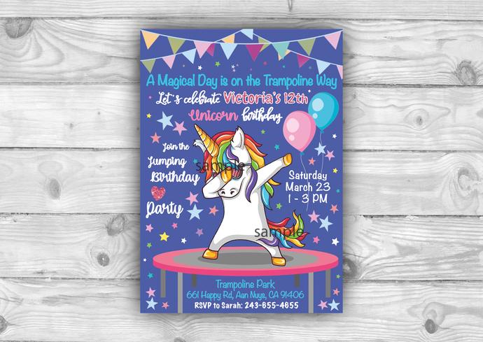 Jumping Unicorn Printable Invite Jump Birthday Invitation Trampoline Park