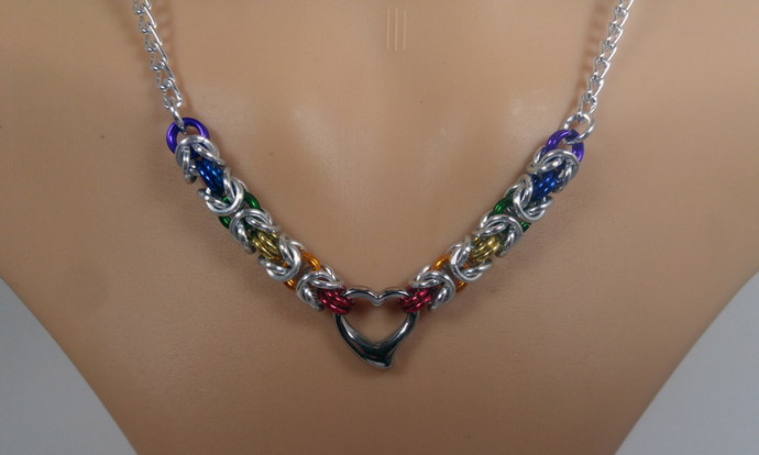 Chainmaille Pride heart necklace, rainbow jewelry