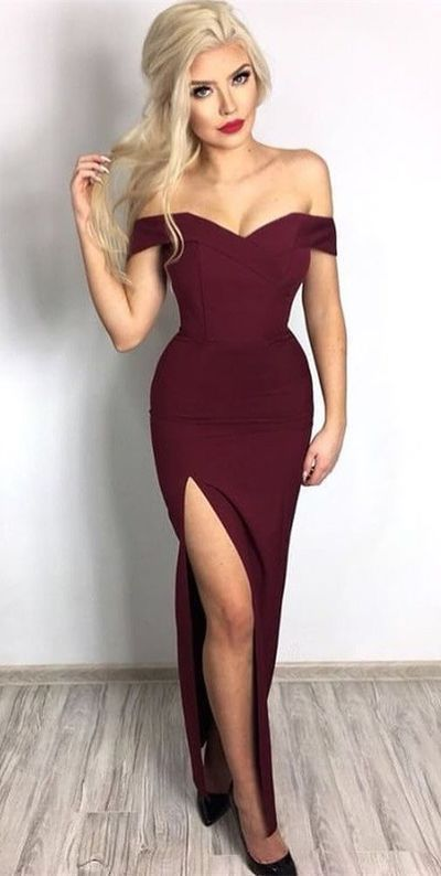 676fd1c275ad Sexy Off the Shoulder Black Mermaid Long Evening Dress with Slit