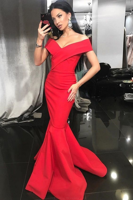 f8a0d0817ba Suitable Red Mermaid Prom Dresses Gorgeous Off The Shoulder Red Mermaid Long