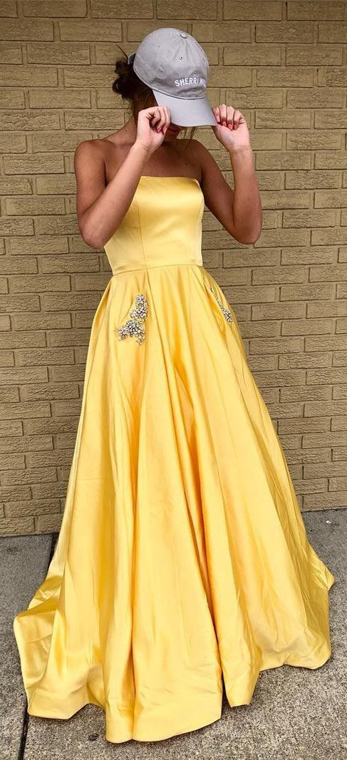 8ac22df4268 Princess Strapless yellow Long Prom Dress with by RosyProm on Zibbet