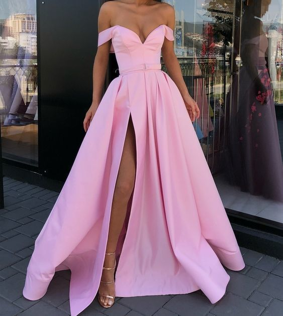 a0f19b3038cfb Off the Shoulder Pink Evening Gown with by prom dress on Zibbet