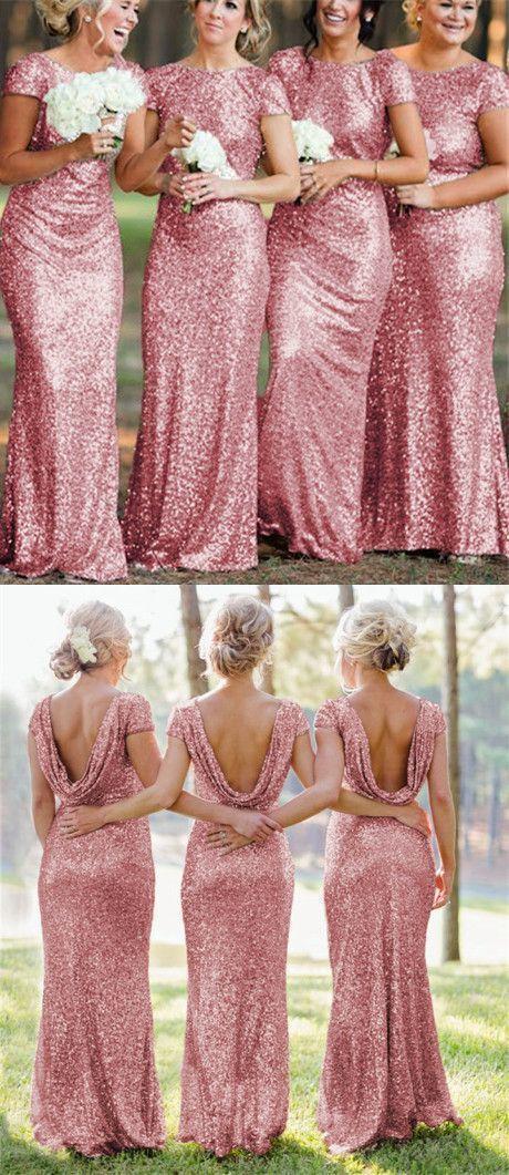 5045b842446 rose pink sequins bridesmaid dresses long mermaid by Hiprom on Zibbet