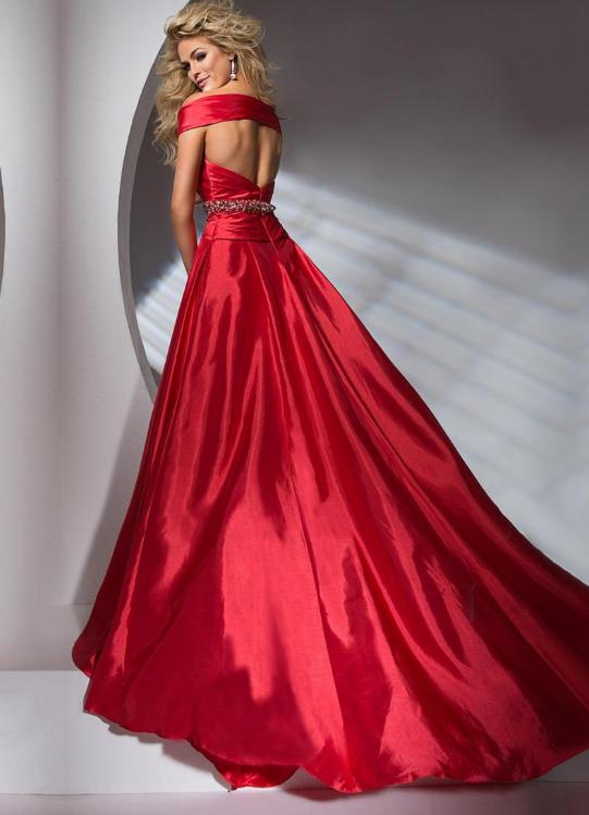 Amazing Taffeta Off-the-shoulder A-Line Evening Dresses With Beads & Rhinestones