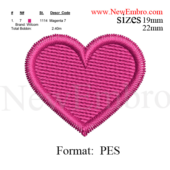 Custom embroidery,Heart embroidery design,Heart embroidery pattern,Heart  embroidery design    3 sizes