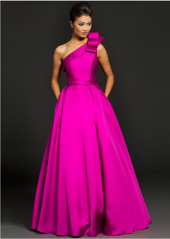 Charming Satin One Shoulder Neckline Floor-length A-line Formal Dress