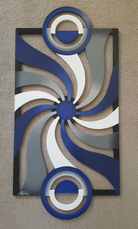 Spiral Design Contemporary Modern Abstract Wood Wall Decor, by Alisa 48x24