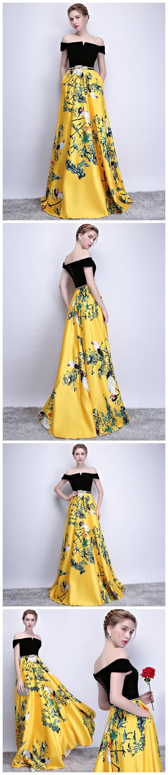 3813eb0cb97 Off-the-shoulder Prom Dress A-line Yellow Floral Satin Long Prom Dresses