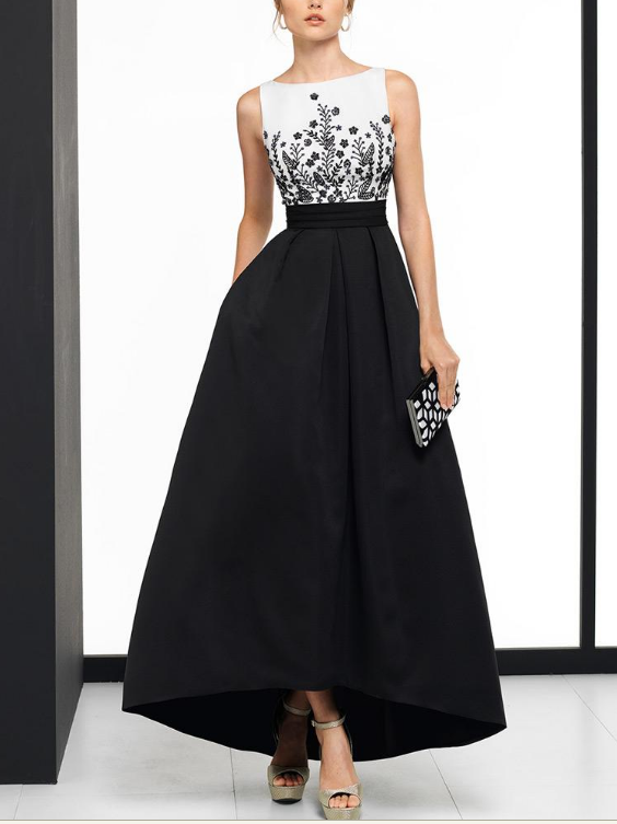 Exciting Satin Bateau Neckline Hi-lo A-line Evening Dress With Beaded Embroidery
