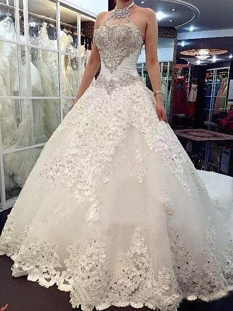 Luxury Wedding Dresses Halter Sexy Lace-up Sweep/Brush Train Bridal Gown,