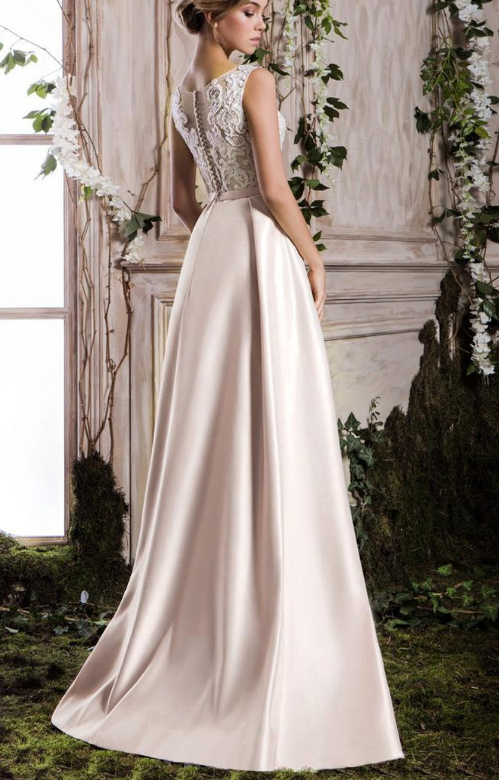 Delicate Satin Scoop Neckline A-line Prom Dress With Beaded Lace Appliques &