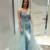 Mermaid V-Neck Detachable Light Blue Prom Dress with Beading
