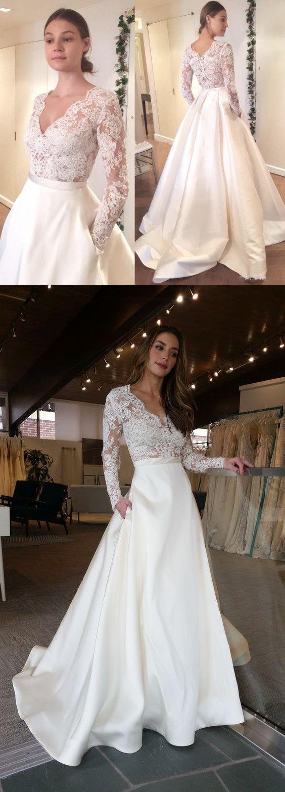 Elegant Long Sleeves V-Neck Top Lace Simple Long Wedding Dresses, Party Dress,