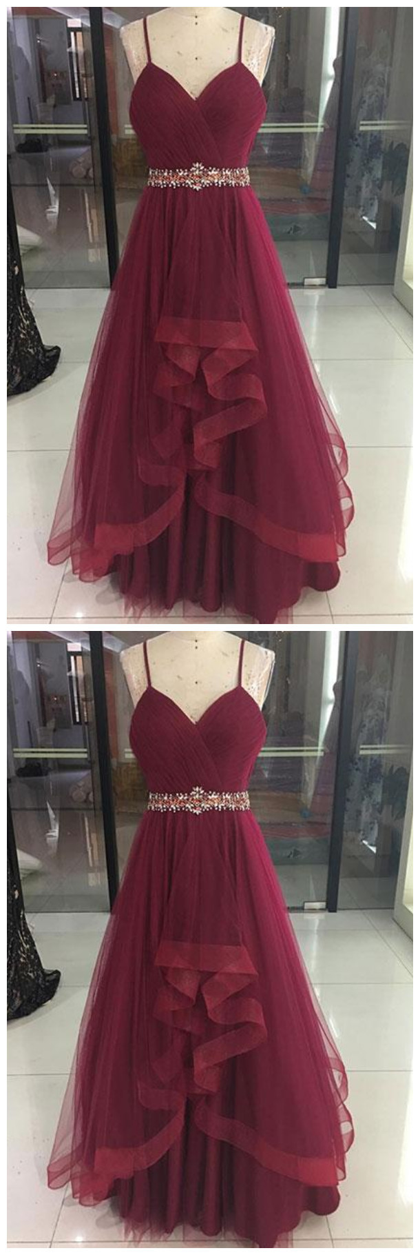 Copy of Sexy Burgundy V-Neck Tulle Prom Dress,Spaghetti Straps Burgundy Evening