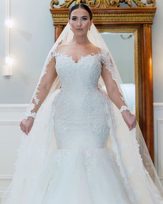 Plus Size White Appliques Tulle Mermaid Wedding Dresses, Long Sleeve Bridal  Dress