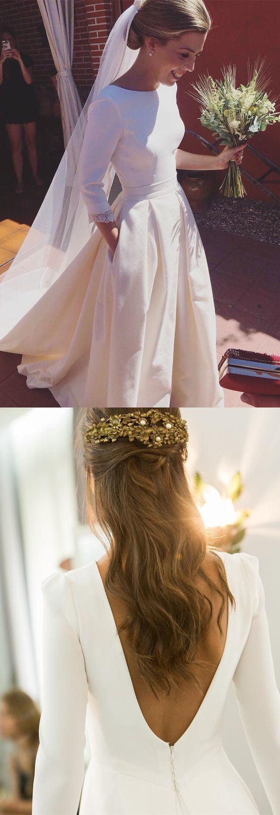 Elegant Long Sleeve White Satin Wedding Dress, A-Line Wedding Gowns
