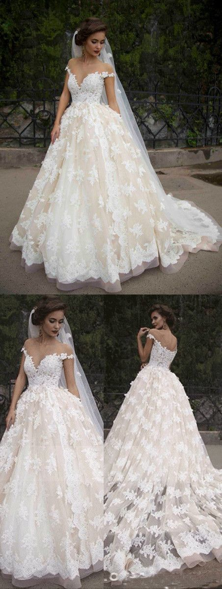 Off the Shoulder Tulle Appliques Ball Gown Wedding Dresses, Sexy Bridal Dress