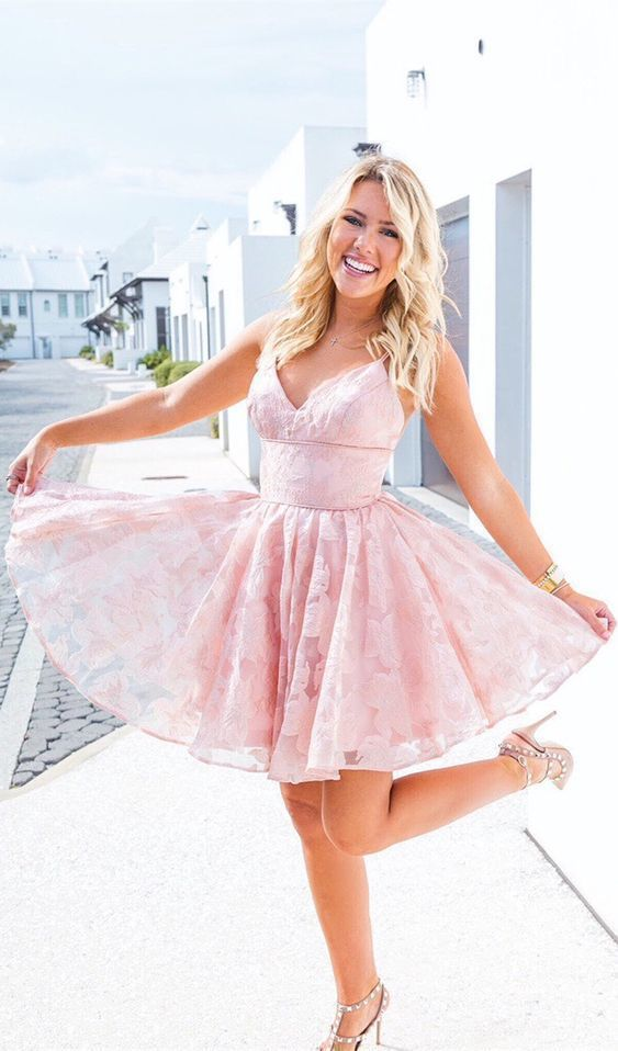 Pink Lace Prom Dress,  Short Homecoming Dress, Sexy Party Dress