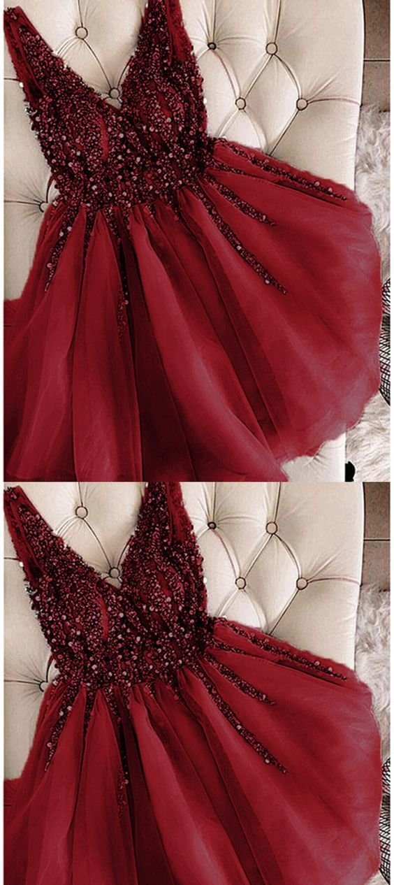 Elegant Tulle Burgundy Prom Dress, Short Homecoming Dress, Beaded Prom Gowns