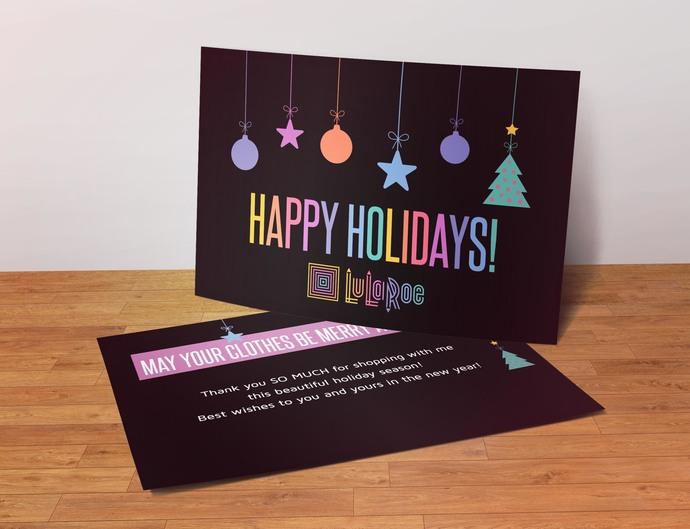 Happy Holidays - Lularoe Postcard- Black