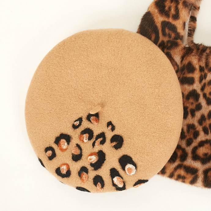 Needle Felted French Beret Hat: Leopard print