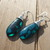 Stunning Agate Teardrop Earrings Wire Wrapped Anti Tarnish Sterling Wires 2 1/4