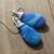 Gypsy Moon Long Blue Agate Teardrop Wire wrapped Earrings Natural stone Jewelry
