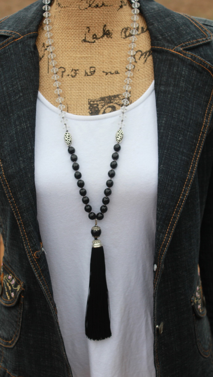 Elegant Long Beaded Necklace with Tassel Classic Black Hand Knot Jewelry