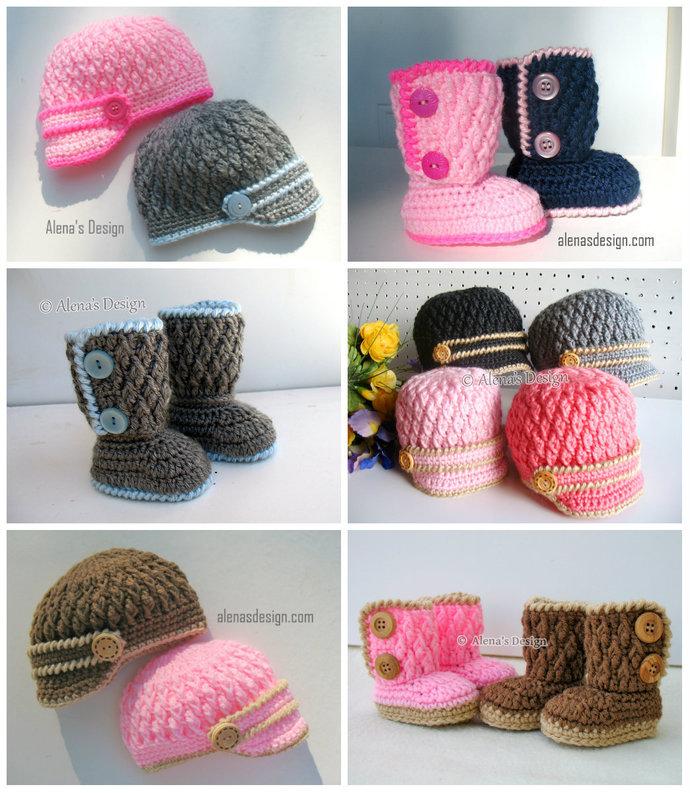 Crochet Pattern Set Baby Jacket Visor Hat Baby Booties Newborn Baby Boy Girl