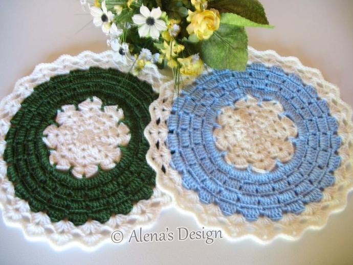 Crochet Placemat Pattern 191 Blue Winter Placemat Crochet Patterns DIY Placemat