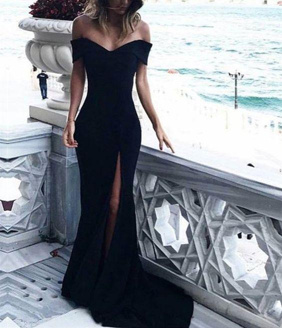 Sexy Prom Dresses Off-the-shoulder Sheath Column Long Black Prom Dress Evening