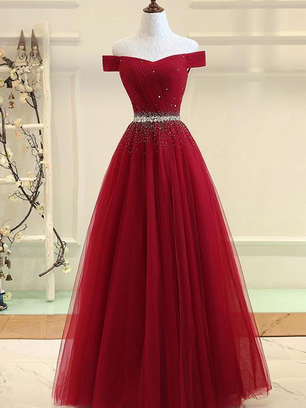Cheap Prom Dresses Burgundy Evening