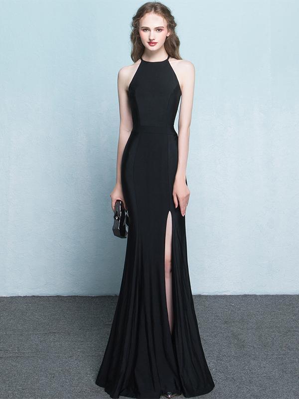 Black Prom Dresses Halter Mermaid Jersey Simple Long By Lass On Zibbet