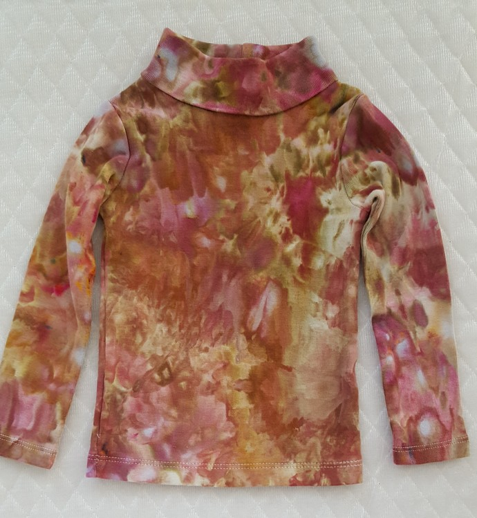 Baby's Turtleneck Top, Ice Dyed Top,  Browns and Green Shades, Winter Top,