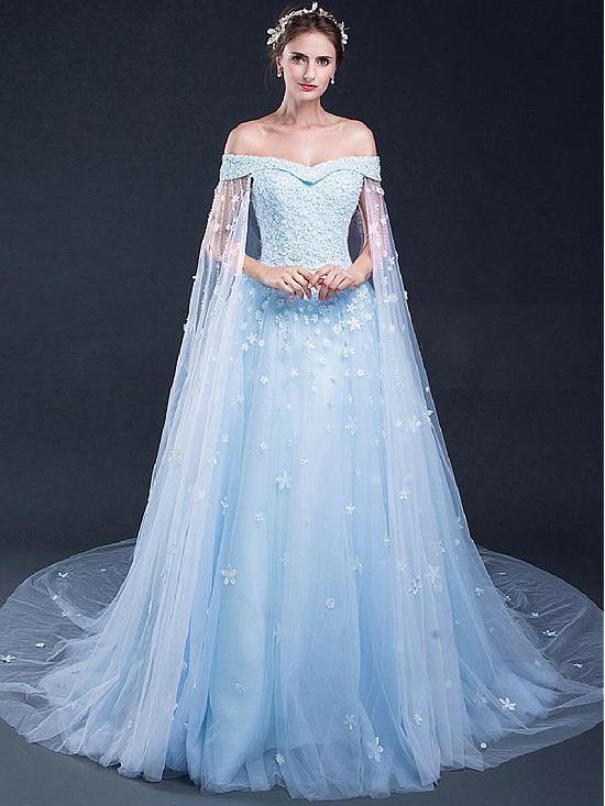 Light Sky Blue Prom Dresses Off-the-shoulder Sweep Brush Train Tulle Prom c1c9d77d7