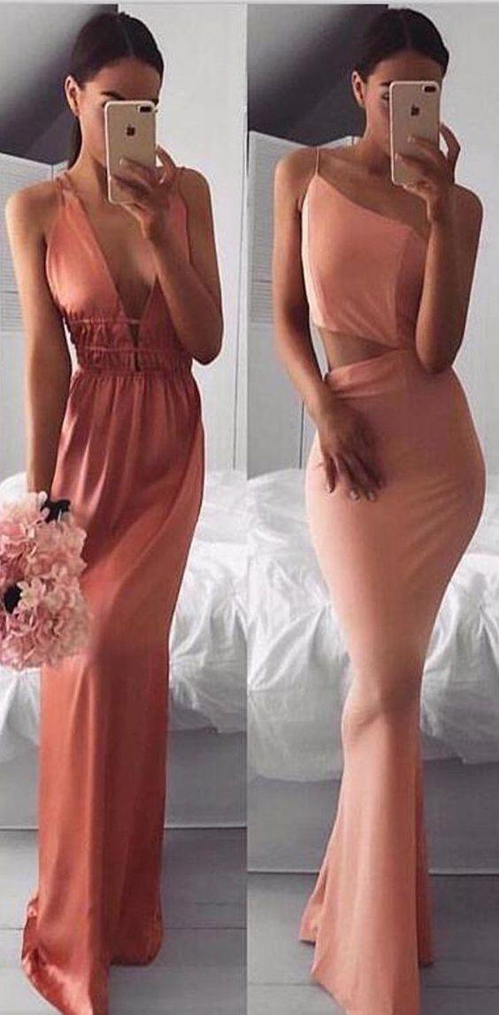Cheap Fashion Sexy Simple Soft Long Pretty Prom Dresses