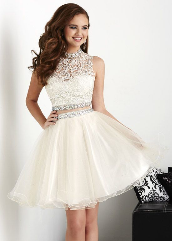 Elegant Tulle Homecoming Dress, Two Piece Appliques Short Homecoming Dresses,