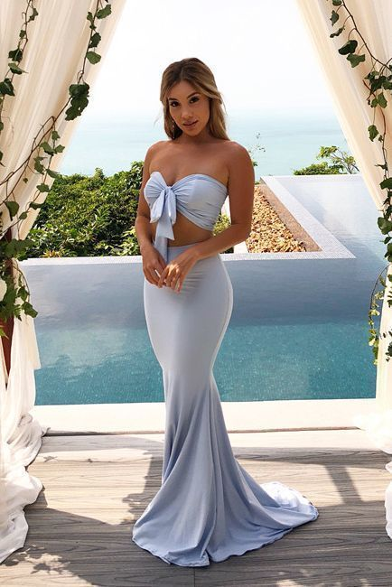 Two Piece Light Blue Prom Dress, Sexy Long Evening Party Dress