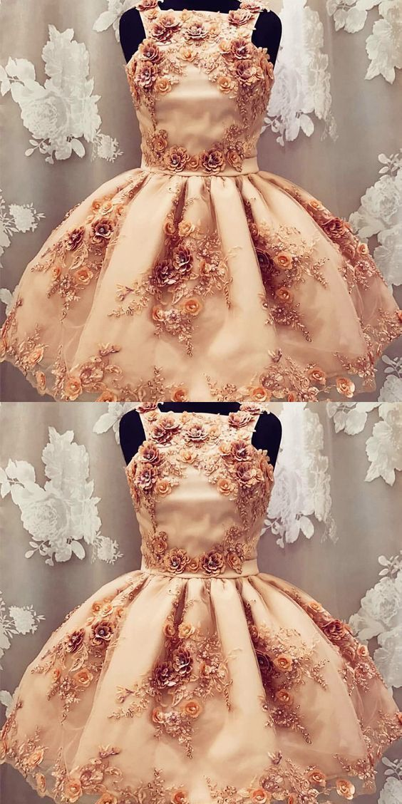A-Line Tulle Short Prom Dress with Flower BD1954