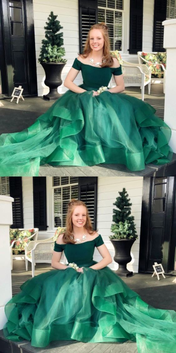 Long Prom Dresses Off The Shoulder Tiered Green Prom Dresses BD1955