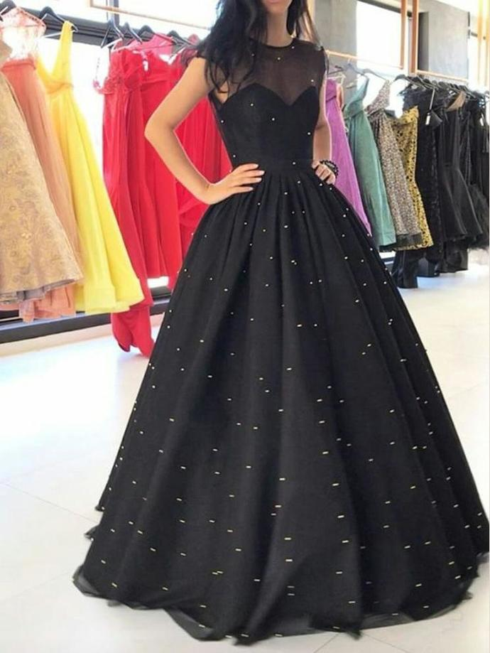 843125964f75 Black Prom Dresses Pearl Ball Gown Long Sparkly Prom by lass on Zibbet