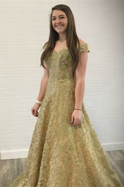 477d9941898 A-Line Off the Shoulder Sweep Train Gold Lace by PrettyLady on Zibbet