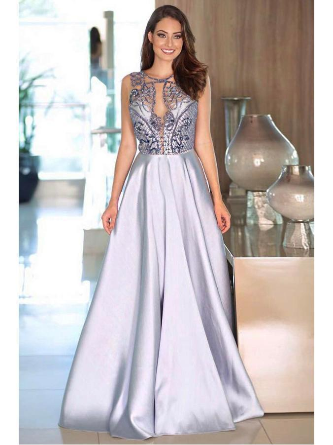 Copy of Sexy Prom Dresses Scoop A Line Floor-length Rhinestone Prom Dress Long