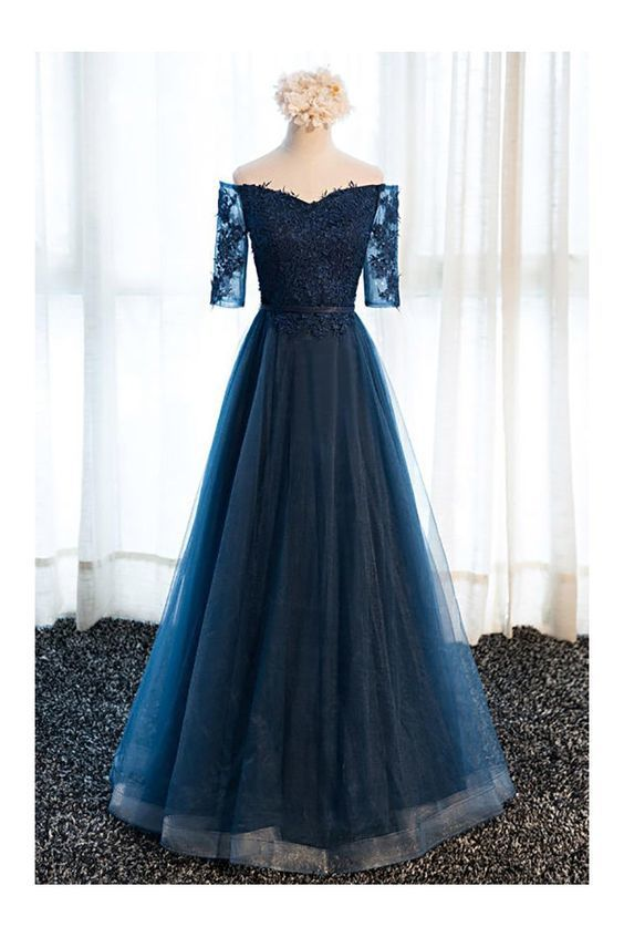 c8cc806a254 Gorgeous Navy Blue Long Tulle Prom Dress Off The by Hiprom on Zibbet