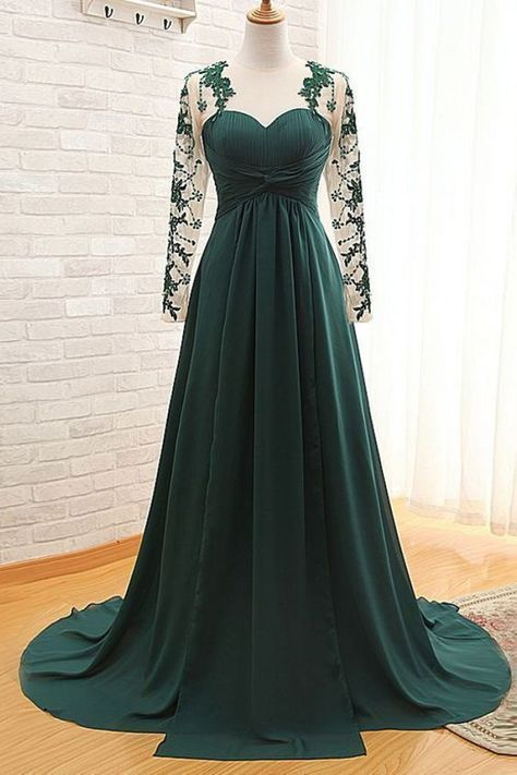 High Quality Illusion Jewel Long Sleeves Ruched Dark Green Mother of Bride Dress