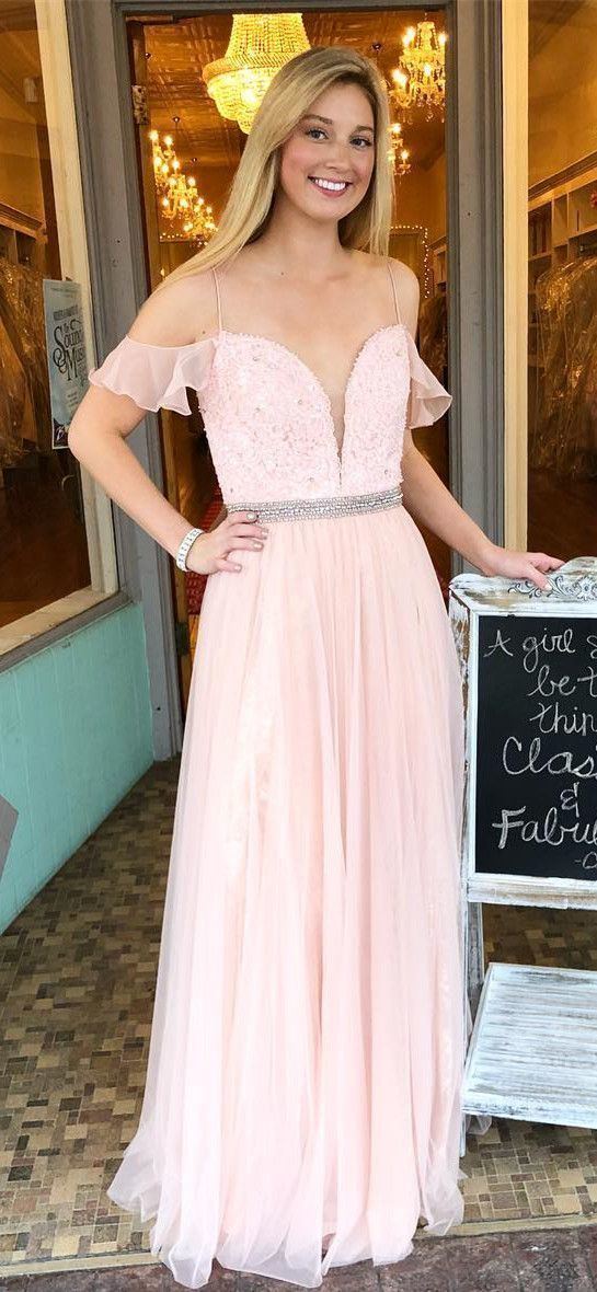 Princess Pink A-Line Prom Dress, Off the Shoulder Chiffon Party Dress