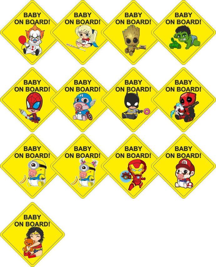 c44500015 Rhombus Baby on Board Super hero Marvel Deadpool Child Window Bumper Car  sticker