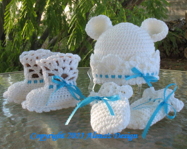 Crochet Pattern 4 PC Set White Bear Hat, Lace Top Baby Booties, Baby Thumb-less