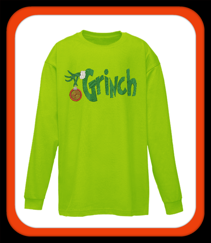 Grinch word with hand holding Christmas orniment. Done in fill stitch not