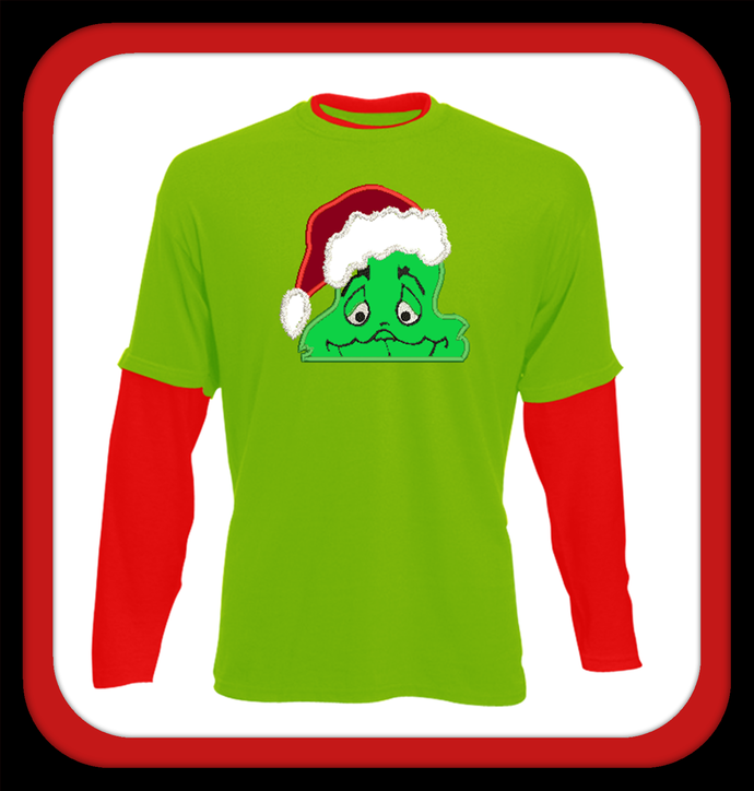 Grinch peeker with santa hat. Applique design in sizes 4x4 5x7.
